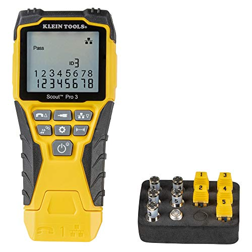 Klein Tools VDV501-851 Cable Tester Kit with Scout Pro 3 Tester, Remotes, Coax F-Adapter, and Battery
