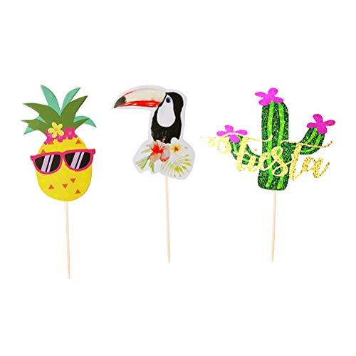 BESTOYARD 17 stücke Kaktus Ananas Kuchen Topper Toucan Muster Niedlichen Papier Cupcake Decor Hochzeit Geburtstag Party Supplies