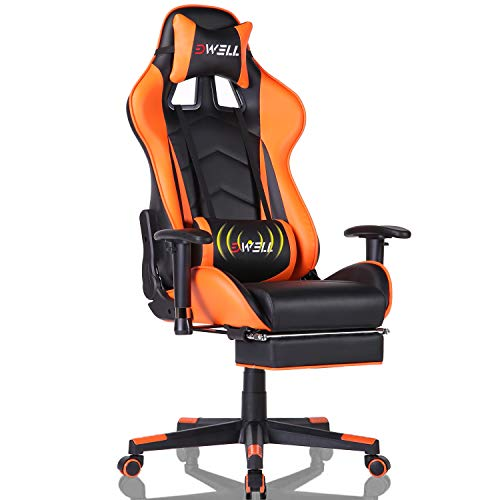 EDWELL Gaming Chair, Computer Chair,Gaming Chair for Adults, Gamer Chair,Gaming Chair with Footrest,High Back Office Chair, Desk Chair with Headrest and Massage Lumbar Support,Orange