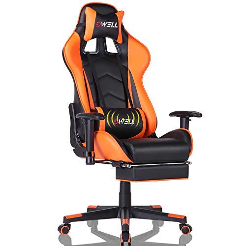 Gaming Stuhl Computer Spielstuhl mit Fußstütze - Einstellbare Drehenende zum Haus Office Liegestuhl mit Hohen Rücken Kopfstütze und Taille-Massage Unterstützung Lehnstuhl für PC (Orange)