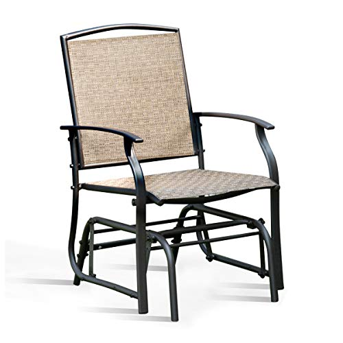 Giantex Swing Glider Chair Outdoor Furniture W/Study Metal Frame, Single Glider Patio Chair for Garden, Porch, Backyard, Poolside, Lawn Rocking Chair (1)