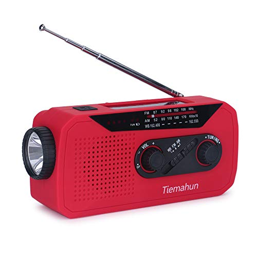 Tiemahun Solar/Hand Cranked Emergency Dynamo Powered AM/FM/NOAA Radio LED Flashlight Lantern 2000mAh Power Bank with Earphone Jack & Battery Power Indicator (Red)