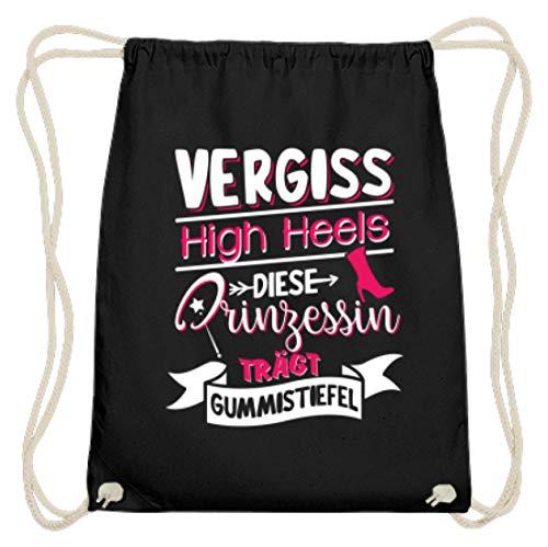 Values Tees Vergiss High Heels diese Prinzessin trägt Gummistiefel I Geschenk für die Landwirtin - Baumwoll Gymsac -37cm-46cm-Schwarz
