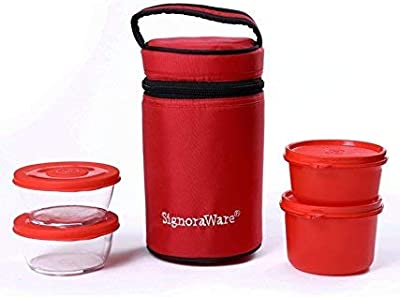 Signoraware Signature Plastic Lunch Box Set with Bag, 1.32 Litre, Set of 4, Red