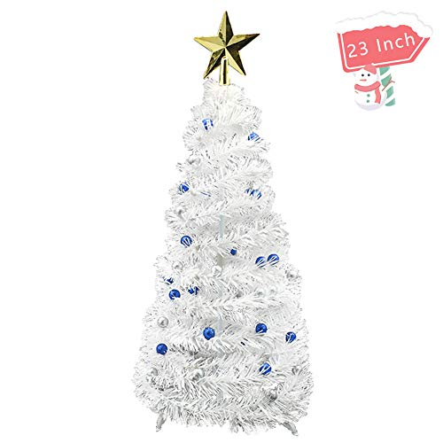 Fowecelt 23 Inch Pop Up Christmas Tree - White Mini Table Top Artificial Christmas Tree for Xmas Home Holiday Party Decoration Supplies