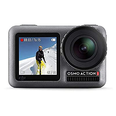DJI Osmo Action - 4K Action Cam 12MP Digital Camera with 2 Displays 36ft Underwater Waterproof WiFi HDR Video 145° Angle, Black by DJI
