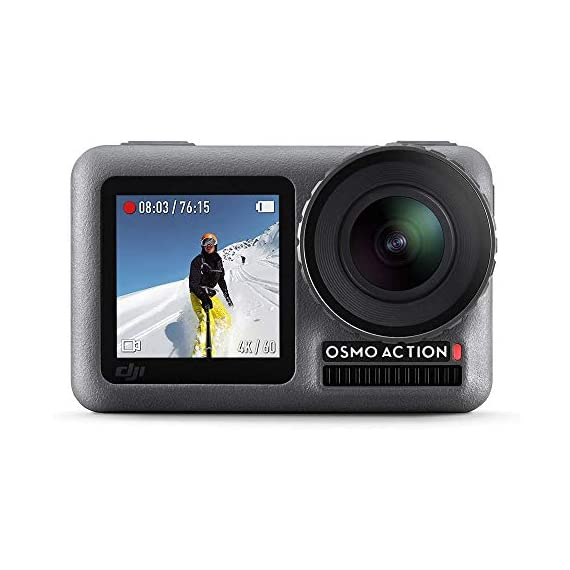 "Dji osmo action - 4k action cam 12mp digital camera with 2 displays 36ft underwater waterproof wifi hdr video 145° angle… 1 dual screens: osmo action's dual screens allow you to capture it all with the touch of a button. A vivid front screen lets you frame yourself effortlessly in any setting, while the back screen delivers a crystal-clear, hyper-responsive display. This durable, versatile action camera is jam-packed with advanced technology that lets you spend less time worrying about equipment and more time living the action. The rocksteady technology combines eis with complex algorithms, delivering stable, shake-free footage no matter how heavy the action gets. Action camera with 1/2. 3"" cmos sensor, 12mp, wide-angle 145° that allows you to shoot 4k hdr videos."