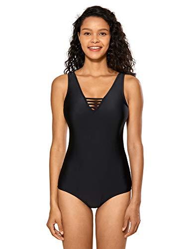 DELIMIRA Damen Einteiler Badeanzug V-Ausschnitt Schwimmanzug Figurformend Bademode Schwarz 46