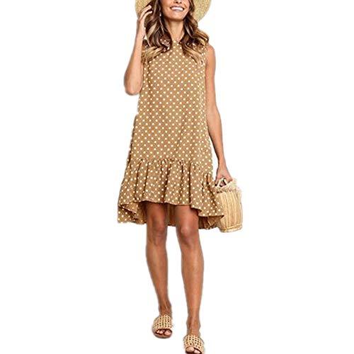 x8jdieu3 Summer New Round Neck Sleeveless Printed Dyeing Polka Dot Loose Large Swing Ruffled Temperament Commuter Dress Khaki