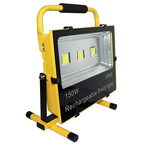 Hanllin Baustrahler LED Akku 150W Fluter Arbeitsleuchte Tragbar Strahler Flutlicht Werkstattlampen Scheinwerfer, KaltWeiß