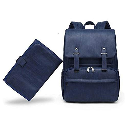 EZGO Upgrade Navy Leather Baby Diaper Bag Backpack with Changing Pad and Stroller Straps for Mom & Dad, Waterproof Large Capacity Nappy Changing Bags Maternity Backpack for Travel Outdoors Baby Care