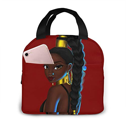 Matthzhang Lunch Bag Black African American Women Girl Afro Girls Is Beautiful Insulated Lunch Tote Boxes Cooler Bag For Adults Men Women Kids Boys Nurses Teens