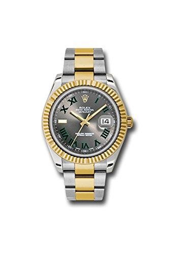 Fashion Shopping Rolex Datejust II 41 Grey Green Roman Dial Steel 18k Yellow Gold and Diamonds Mens