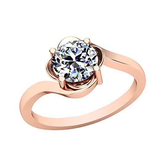 Dishis Designer Jewellery - Anillo de diamantes de imitación de oro rosa y blanco de 14 quilates para mujeres y niñas 5.5