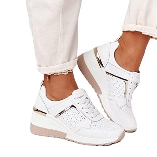 QBAMTX Zapatillas De Mujer De Tacón Alto con Cuña Zapatillas Deportivas para Correr Casuales Zapatos De Plataforma Cómodos Y Transpirables para Tenis, Gimnasio, Correr, Ejercicio De Ocio
