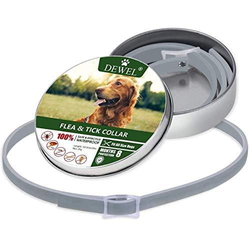DEWEL Hundehalsbänder gegen Ungeziefer, 63,5cm Verstellbar Anti Floh und Zecken Halsband für Hunde, Wasserdicht Flohhalsband