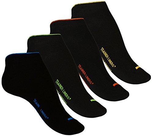 VCA 8 Paar Damen Sneaker Socken TRAINER LINERS mit Neonfarbenden B& - Cottonprime