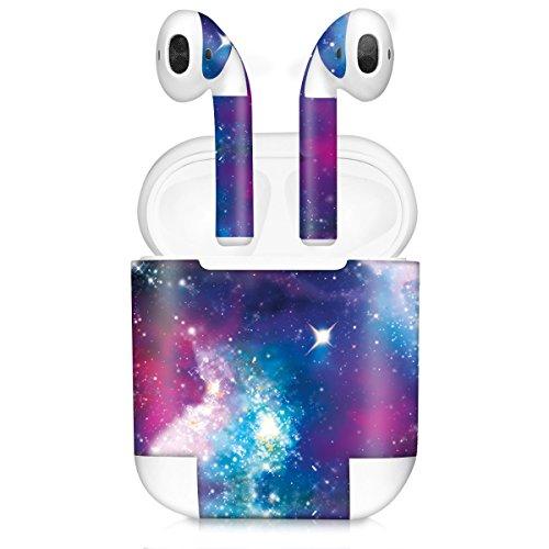 kwmobile 7in1 Set Aufkleber kompatibel mit Apple AirPods (1. Generation) - 7X Sticker Aufkleber für In Ear Kopfhörer - Space Mehrfarbig Pink Schwarz
