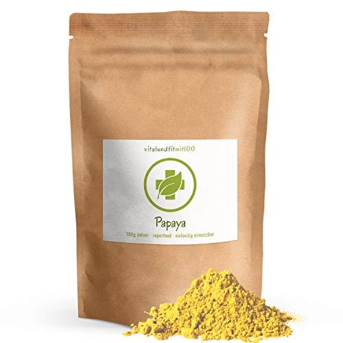 Papaya Fruchtpulver - 100 g - in Rohkostqualität - natürlich fruchtiger Geschmack - vielseitig einsetzbar - Papayapulver - OHNE Hilfs- u. Zusatzstoffe