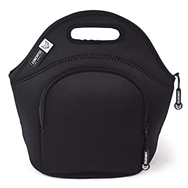 LunchFox Eco-Friendly Neoprene Lunch Bag Tote for Adults (Men & Women), Black - Midnight on Mulholland