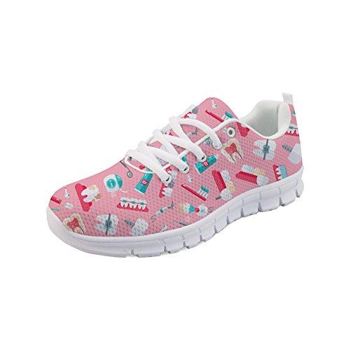 Polero® Damen Herren Atmungsaktive Sneaker Sportschuhe Bequeme Unisex Erwachsene Rennschuhe Laufschuhe Laufschuhe Laufschuhe Gym Schuhe Schnürung Freizeitschuhe 35–48 EU, - Pink Dental - Größe: 35 EU