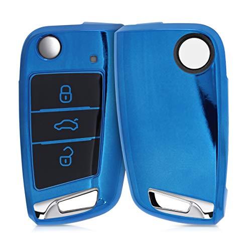 kwmobile Funda para Mando Compatible con VW GTI Skoda RS Llave de Coche Plegable de 3 Botones - Funda TPU Llave con Botones de Llave de Auto - Azul Brillante
