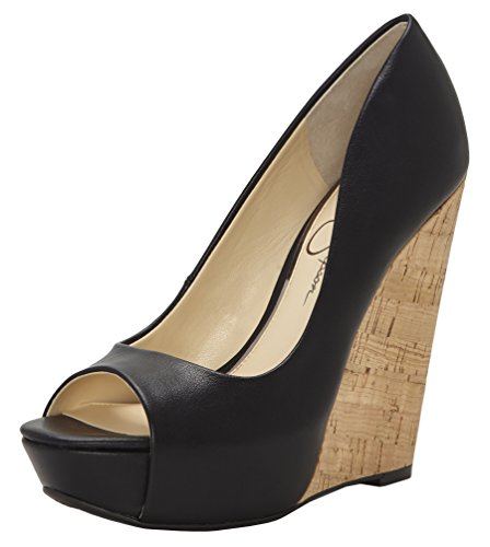 Jessica Simpson Womens Bethani Wedge Pump, Black Sleek, 9 M US