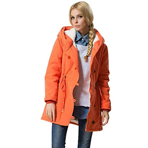 WILLTOO Fashion Mid Long Coat,Women Solid Hooded Jacket Lambswool Cotton Coat Thicker Outwear Coat Orange