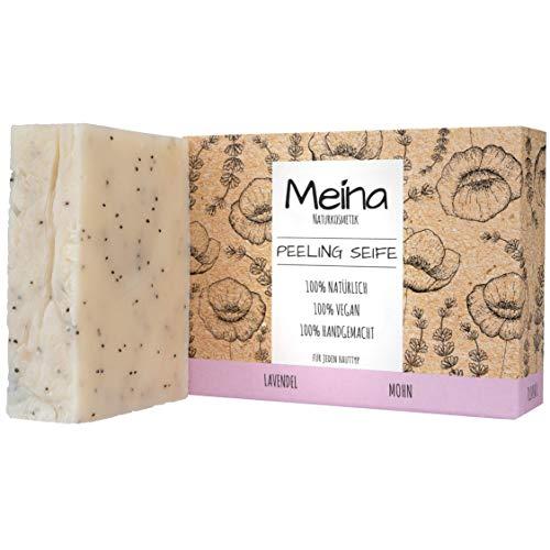 Meina Naturkosmetik - Bio Peeling Seife mit Lavendel, Naturseife ohne Palmöl, Vegan, Handgemacht (1 x 100 g)