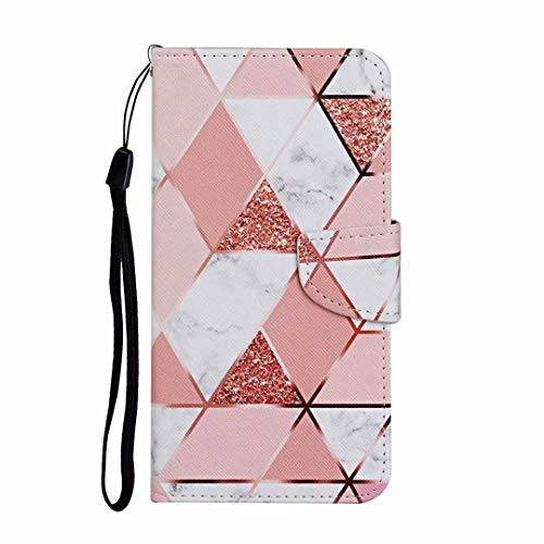 Case for iPhone 12/ iPhone 12 Pro, 3D Painted Shock-Absorption Flip PU Leather Notebook Shockproof Wallet Phone Cases Folio Magnetic Protective Cover TPU Bumper with Stand Card Holder Slots marble