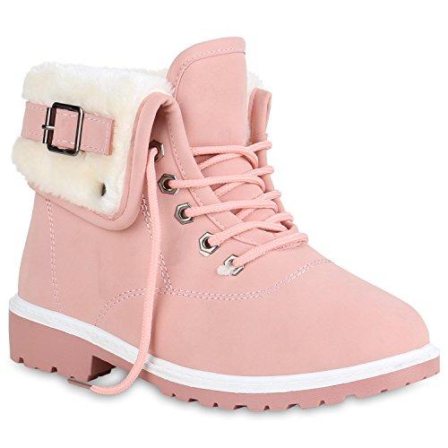 Damen Stiefeletten Warm Gefütterte Worker Boots Outdoor Schuhe 152139 Rosa 37 Flandell
