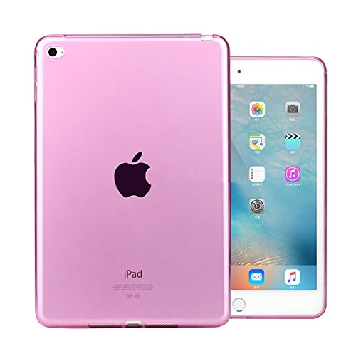 """iCoverCase for iPad Mini 4 Case, Ultra-Thin Silicone Back Cover Clear Plain Soft TPU Gel Rubber Skin Case Protector Shell for iPad Mini 4 7.9"""" (Pink)"""