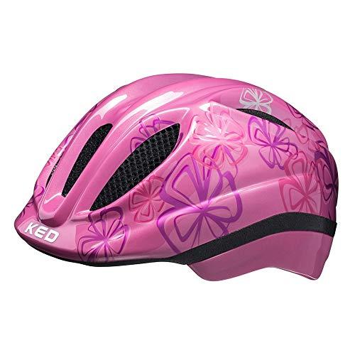 KED Meggy Trend S pink Flower - 46-51 cm - inkl. RennMaxe Sicherheitsband - Fahrradhelm Skaterhelm MTB BMX Kinder Jugendliche