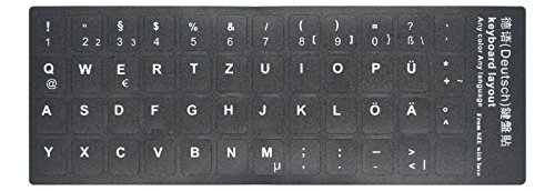 [2PCS PACK] HRH German Keyboard Stickers,PC Keyboard Stickers Black Background with White Lettering for Computer