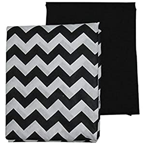 Baby Doll Bedding Chevron and Solid Color Fitted Crib/Toddler Bed Sheet Set, Black 2 Pk