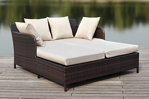 Safavieh Outdoor Collection August Titanium & Sand Daybed