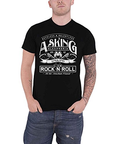 Asking Alexandria T Shirt Rock N Roll Band Logo Nue offiziell Herren