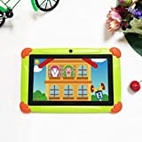 Android-Tablet für Kinder, 7-Zoll-Display, Tablet-PC mit Quad-Core, 2 GB RAM + 32 GB ROM, 1280 * 800 HD-Tablet mit Silikonhülle, Dual-Kamera, Bluetooth, WLAN und GPS (Green)
