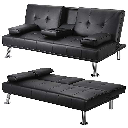 Yaheetech Click Clack Sofa Bed Faux Leather 3 Seater Sofa Couch Living Room/Spare Room/Guest Room Bed Settee With Cup Holders Black