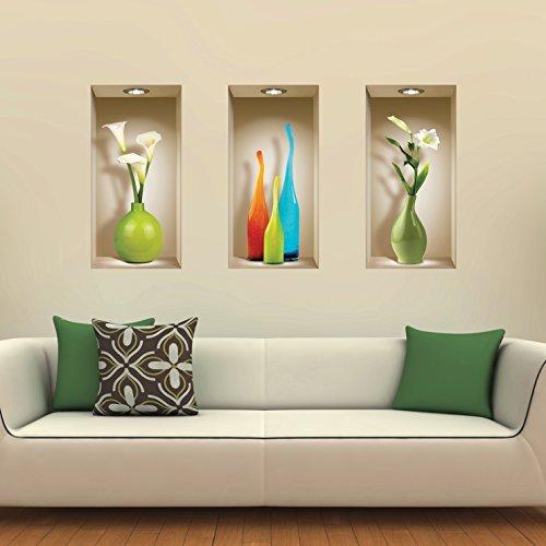 The Nisha Art Magic 3D Vinyl Removable Wall Sticker DIY, Set of 3, Colored Vases by the Nisha