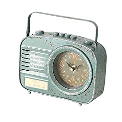 WHW Whole House Worlds Vintage Clock, Faux AM KHZ Radio, Metal, Quartz Movement, Rectangle, Minty Blue Green, Battery Powered (1 AA) 8.25 L x 2.25 W x 6.25 H inches, 1.0 lbs