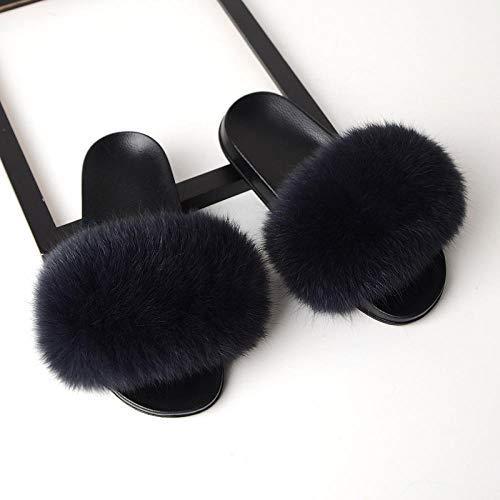 Zquest Desgaste Exterior Pantuflas mullidas, cómodas Pantuflas sin Cordones para Mujer, Gris Oscuro_39 (245)
