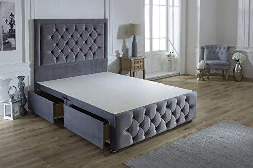 ComfoRest, Bedding & Upholstery Innovation Leader Comfort24 Steel Plush Velvet Sara Plus Divan Base With 54' Sara Headboard And 2 Drawers (3FT - Single)