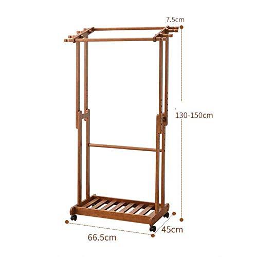 FVGH Met katrol Verstelbare hoogte Dubbele paal massief houten kapstok kan verplaatsen Slaapkamer woonkamer foyer A