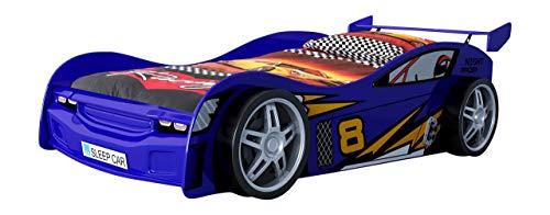 Vipack scnr200b Auto Letto Night Racer, Circa 217x 65x 111cm, Superficie 90x 200cm, con Stampa Laccata, Colore: Blu