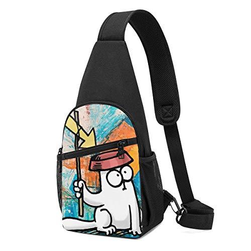 JONINOT Simons Cat Crossbody Schultertaschen Rucksack Rucksack Umhängetasche Daypack Brusttasche Wandern