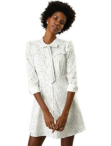 Allegra K Women's Work Office Tie Neck Ruffle A-line Polka Dots Dress M White