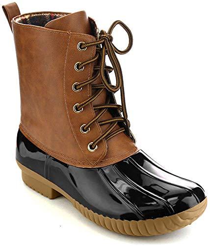 AXNY Damen Schnürschuhe zweifarbig Combat Style Wade Regenstiefel, Schwarz (schwarz), 42 EU