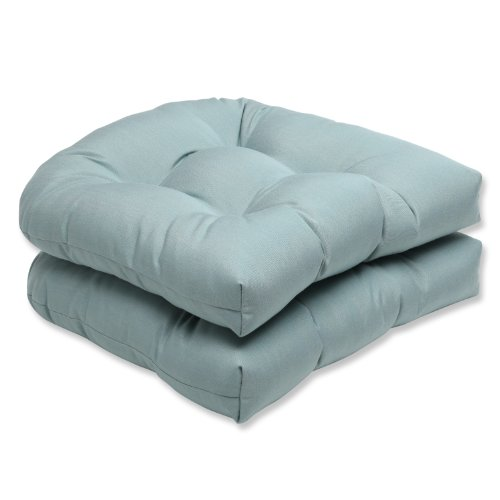 """Pillow Perfect 546681 Outdoor/Indoor Sunbrella Canvas Spa Tufted Seat Cushions (Round Back), 19"""" x 19"""", Blue, 2 Pack"""