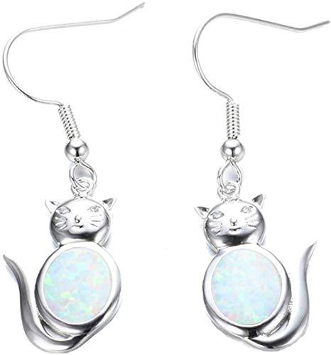 925 sterling silver women earrings with opal cat shape-White opal